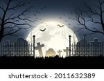 halloween cemetery in the night ... | Shutterstock .eps vector #2011632389