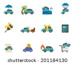 car insurance icons in flat... | Shutterstock .eps vector #201184130