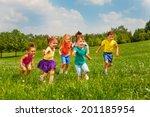 playing kids in green field... | Shutterstock . vector #201185954