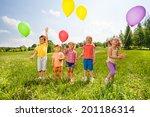 five cute children with... | Shutterstock . vector #201186314