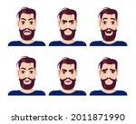set of handsome bearded man...   Shutterstock .eps vector #2011871990