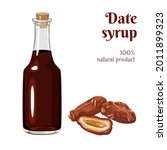 date syrup in glass bottle... | Shutterstock .eps vector #2011899323