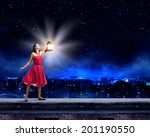 young woman in red dress with... | Shutterstock . vector #201190550