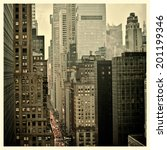 Rush hour on 42nd Street in New York City with Instagram effect filter - stock photo