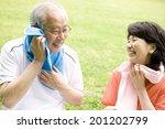 the elderly couple in exercise... | Shutterstock . vector #201202799