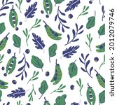 seamless pattern with peas and... | Shutterstock .eps vector #2012079746