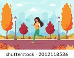 woman jogging in the autumn... | Shutterstock .eps vector #2012118536