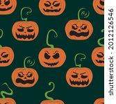 seamless pattern orange pumpkin ... | Shutterstock .eps vector #2012126546
