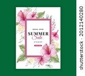 summer sale banner with flower...   Shutterstock .eps vector #2012140280