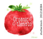 tomato. vector watercolor... | Shutterstock .eps vector #201218384