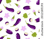 seamless pattern eggplant whole ...   Shutterstock .eps vector #2012185193