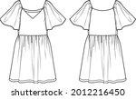 Vector Dress Sketch  V Neck...