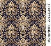 golden seamless damask pattern...   Shutterstock .eps vector #2012218643