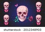 human skull with rose flower... | Shutterstock .eps vector #2012348903
