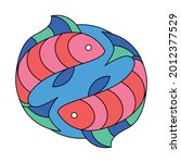 isolated pisces symbol western... | Shutterstock .eps vector #2012377529