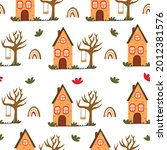 seamless pattern with cute... | Shutterstock .eps vector #2012381576