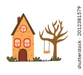 cute unusual brick house with a ... | Shutterstock .eps vector #2012381579