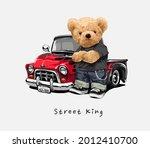 street king slogan with bear... | Shutterstock .eps vector #2012410700