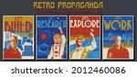 retro propaganda posters style...   Shutterstock .eps vector #2012460086