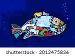 save the ocean. different waste ...   Shutterstock .eps vector #2012475836