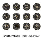 set of 12 zodiac signs with... | Shutterstock .eps vector #2012561960