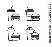 fast food icon set collection...