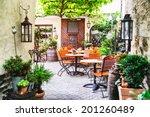 cafe terrace in small european...   Shutterstock . vector #201260489