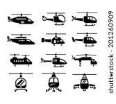 Set Icons Of Helicopters...