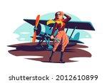 female aviator holding wrench...   Shutterstock .eps vector #2012610899