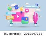 digital screen 3d illustration  ... | Shutterstock .eps vector #2012647196