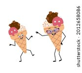 cute ice cream character with... | Shutterstock .eps vector #2012658086