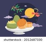 mid autumn festival food. flat...   Shutterstock .eps vector #2012687330