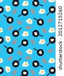 tasty breakfast food pattern...   Shutterstock .eps vector #2012715260