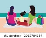 girls on the beach. lesbian...   Shutterstock .eps vector #2012784359