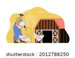 poultry farming concept. farmer ...   Shutterstock .eps vector #2012788250