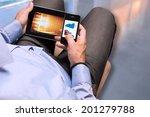businessman checking data on... | Shutterstock . vector #201279788