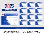 2022 desk calendar template... | Shutterstock .eps vector #2012847959