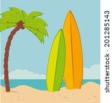 summer design over beach scape... | Shutterstock .eps vector #201285143