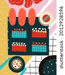 set sushi and rolls poster wall ... | Shutterstock . vector #2012928596