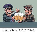 two joyful men at the bar are... | Shutterstock . vector #2012929166