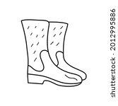 rubber boots in doodle style....   Shutterstock .eps vector #2012995886