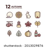 twelve icons in color outline... | Shutterstock .eps vector #2013029876