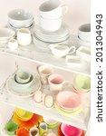 different tableware on shelf ... | Shutterstock . vector #201304943