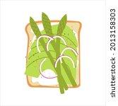 avocado toast with asparagus.... | Shutterstock .eps vector #2013158303