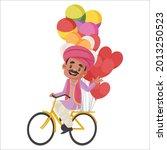 balloons seller is selling... | Shutterstock .eps vector #2013250523
