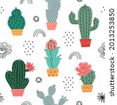 vector seamless cactuses...   Shutterstock .eps vector #2013253850
