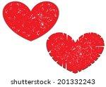 abstract scratched heart set .... | Shutterstock . vector #201332243