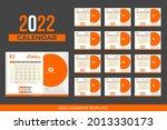 2022 landscape desk calendar... | Shutterstock .eps vector #2013330173