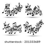 vector black jolly wavy staves... | Shutterstock .eps vector #201333689