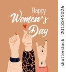 girl power  feminism and... | Shutterstock .eps vector #2013345026
